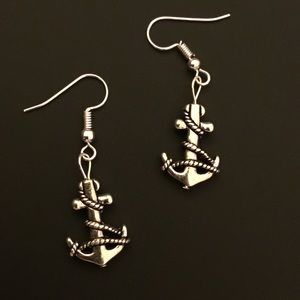 Silver Anchor Dangle Earrings
